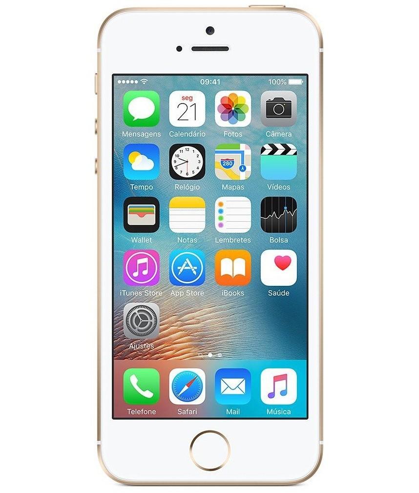 iPhone SE 64GB Dourado - 64GB - iOS 9 - 1.8 GHz Dual Core - Tela 4 ´ - Câmera 12MP - Desbloqueado - Recertificado