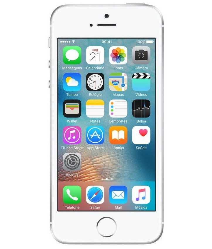 iPhone SE 16GB Prateado - 16GB - iOS 9 - 1.8 GHz Dual Core - Tela 4 ´ - Câmera 12MP - Desbloqueado - Recertificado
